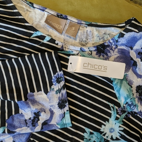 Chico's Tops - CHICOS Scoop 3/4 sleeve flower stripes NEW 3